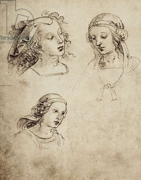 Study for three feminine heads; drawing by Raphael. Gallerie dell'Accademia di Venezia