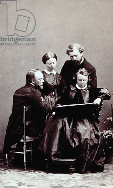 Portrait of the famous French painter Marie-Rose Bonheur with members of her family (b/w photo)