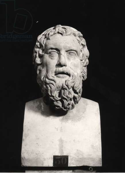 Bust of Aristophanes (c.445-c.385 BC) (marble) (b/w photo)