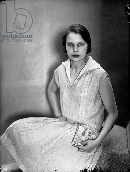 Portrait of Marion Wulz with a dress by Anita Pittoni, c.1930 (b/w photo)