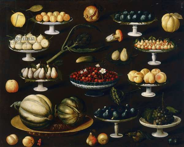 Centerpieces with fruits and vegetables, by an anonymous painter, in storage at Pitti Palace in Florence. Now in the Museum of Still Life