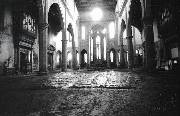 Interior of the Church of Santa Croce after the flood of Florence, November 1966 (b/w photo)