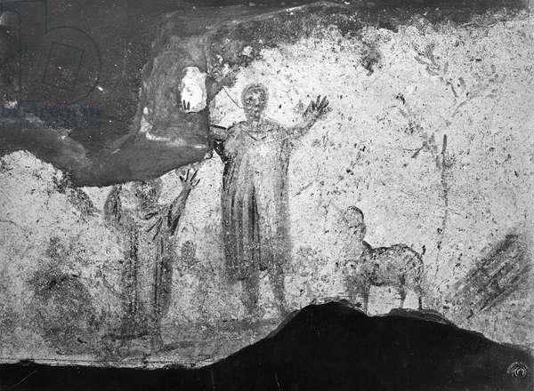 The Sacrifice of Abraham (fresco) (b/w photo)
