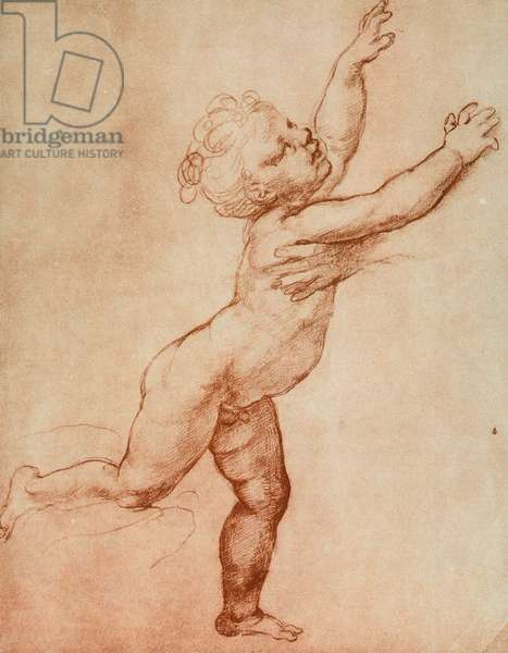 Drawing of a baby running towards the right where there seems to be a person waiting for him of whom one can only see a hand. Work by Raffaello in the Uffizi in the Drawings and Print Room, in Florence
