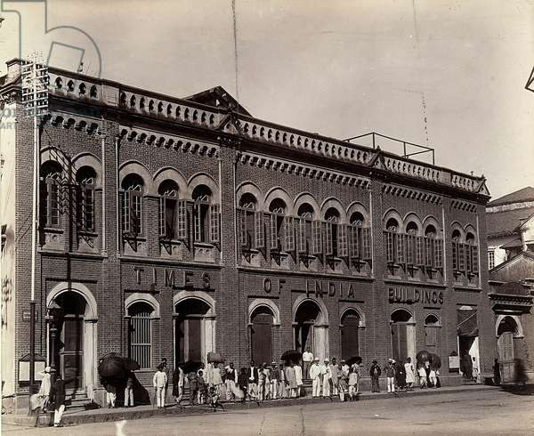 """Building of the """"India Times"""", Bombay, India, c.1890 (b/w photo)"""
