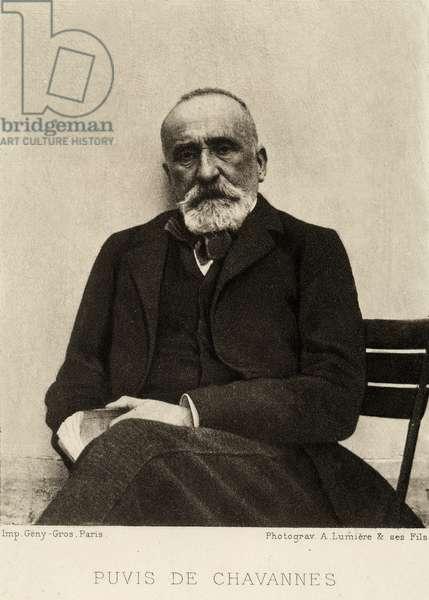 Portrait of the painter Pierre Puvis de Chavanne (b/w photo)