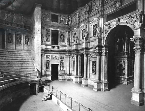Interior of the Theatre, built 1580-85 (b/w photo)