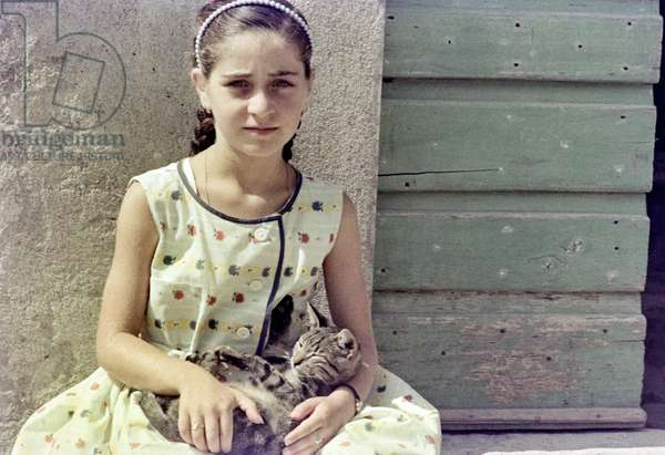 Little girl with cat, c.1960 (photo)