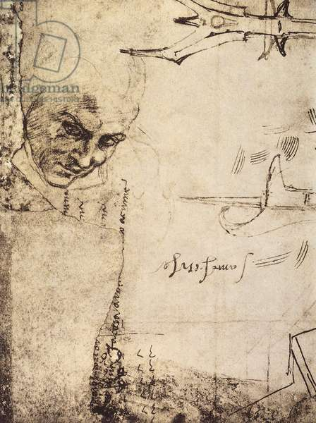 Face, drawing by Michelangelo, Cabinet of Drawings and Prints, Uffizi Gallery, Florence