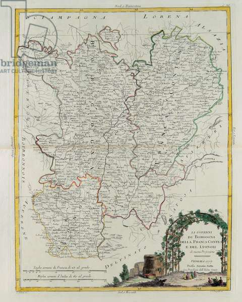 Governances of Bourgogne, Franca Contea and Lyons, engraving by G. Zuliani taken from Tome I of the