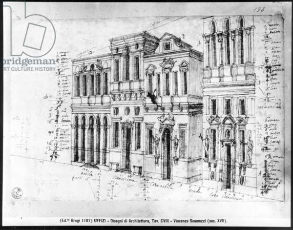Drawing of the facade of the Galleria degli Uffizi, designed by Giorgio Vasari (1511-74) and completed by Bernardo Buontalenti (1531-1608) and Alfonso Parigi (d.1590) in 1580 (pen & ink on paper)