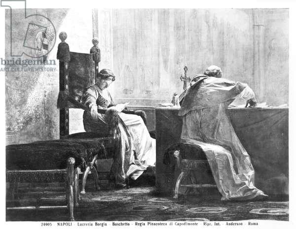 Lucrezia Borgia (1480-1519) and her father Pope Alexander VI (1431-1503) (oil on canvas) (b/w photo)