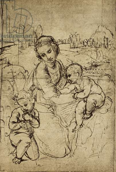 Madonna and Child and St. John (child), drawing by Raphael. Gabinetto dei Disegni e Stampe, Uffizi Gallery, Florence