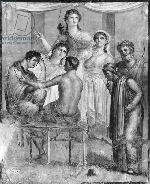 Admetus and Alcestis listening to the oracle, from Pompeii, House of the Tragic Poet (fresco) (b/w photo)