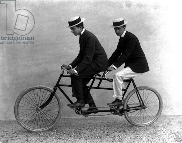 Two men on a tandem, Florence, 1895 (glass plate)