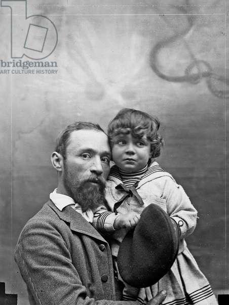 Michetti and his son Giorgio (b/w photo)
