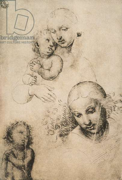 Study for a Madonna and Child, drawing by Raffaello Sanzio. Gabinetto dei Disegni e delle Stampe, Uffizi Gallery, Florence