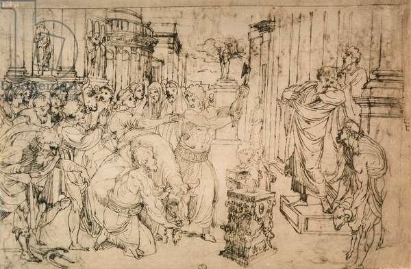 Sacrifice of the Bull, drawing from the School of Raphael. Gabinetto dei Disegni e delle Stampe, Uffizi Gallery, Florence