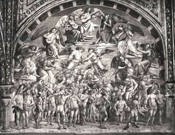 The Calling of the Chosen to Heaven (fresco) (b/w photo) (see also 190258)