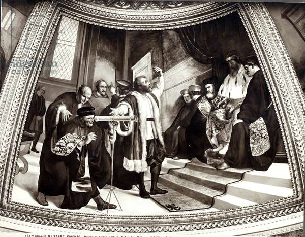 Galileo (1564-1642) presenting his telescope to the Venetian senate, from The Trial of Galileo (fresco)