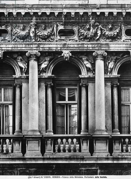 Detail of the façade of the Marciana Library in Venice