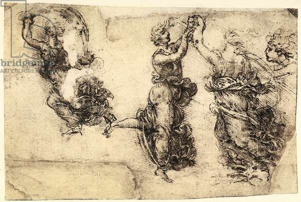 Study of some dancing female figures; pen drawing on paper turned yellow by Leonardo da Vinci and preserved at the Gallery of the Academy, Venice.