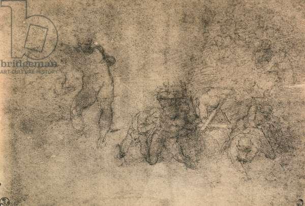 Various studies of a male nude, Michelangelo. Gabinetto dei Disegni e delle Stampe, Uffizi Gallery, Florence