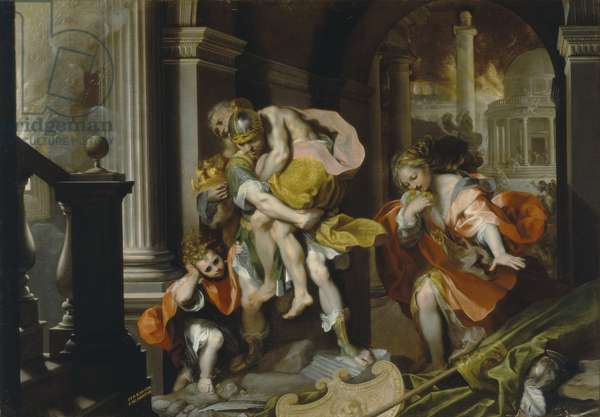 Aeneas and Anchises escaping from Troy, c.1587 (pen & ink and oil with white heightening)