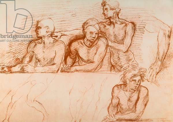 Study of the Apostles for the Last Supper of San Salvi, drawing by Andrea del Sarto. Gabinetto dei Disegni e Stampe, Uffizi Gallery, Florence