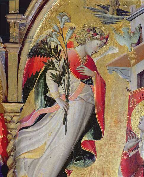 Archangel Gabriel, detail from The Annunciation with SS Lawrence, Benedict, John the Baptist and Nicholas, 1434 (tempera & gold leaf on panel)