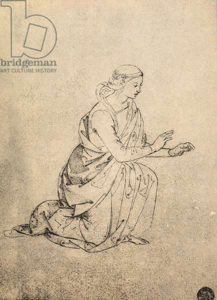 Female figure kneeling; drawing by Raphael. Gallerie dell'Accademia, Venice