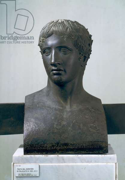 Head of the Doryphoros, after Polykleitos (bronze)