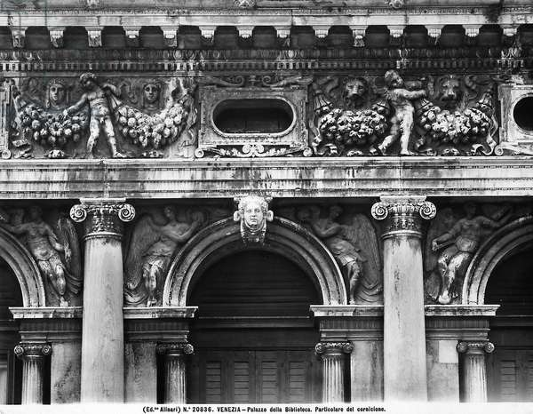Detail of the cornice of the Marciana Library in Venice