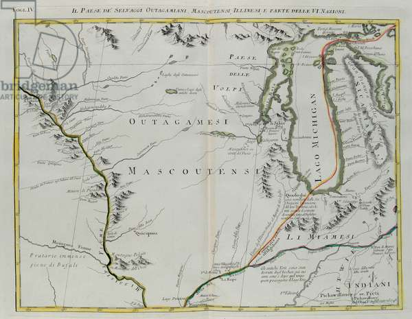 Land of Outagamie, Mascoutin, Illinois Indians and part of the Six Nations, engraving by G. Zuliani taken from Tome I of the