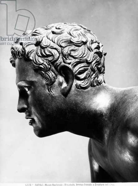 The gilded bronze face of the Discobolus