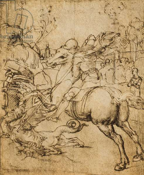 St. George kills the dragon; drawing by Raphael. Gabinetto dei Disegni e delle Stampe, Uffizi Gallery, Florence
