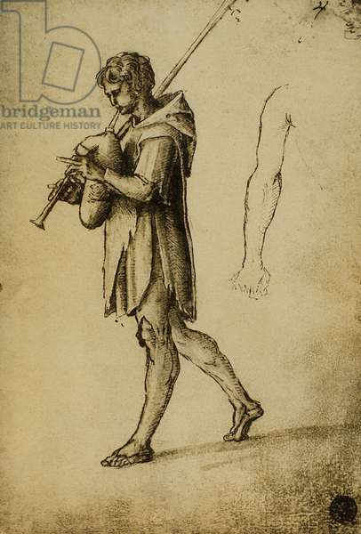 Study for a bagpipes player; drawing by Raphael. Gallerie dell'Accademia, Venice