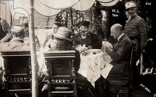 Gabriele D'Annunzio taking part in a banquet of hounour, held during the occupation of Fiume by part of his Italian legionary troops.