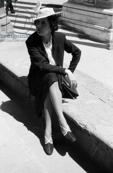 Portrait of woman in business suit, 1939 (b/w photo)
