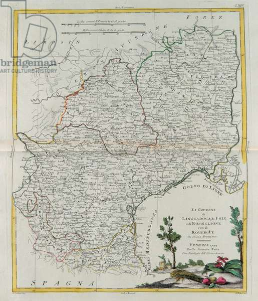 Governances of Langedoc, Foix and Roussillon with Rouergue, engraving by G. Zuliani taken from Tome I of the