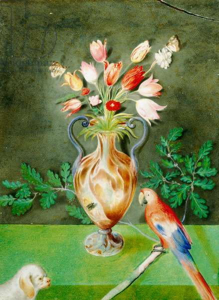 Vase of flowers, parrot and lapdog, c.1600-25