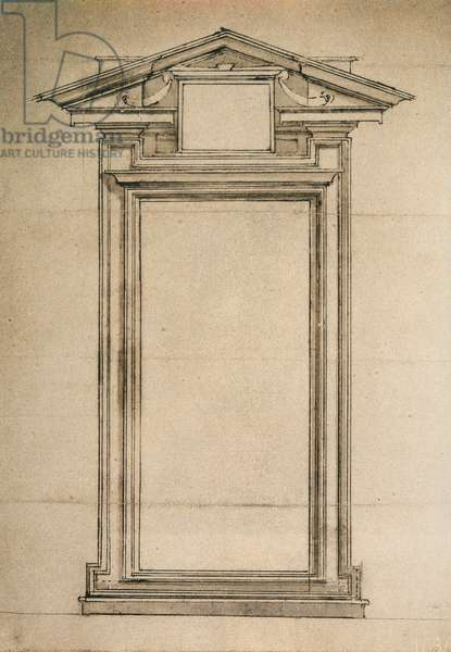 Architectonic study of a door of the Biblioteca Laurenziana; drawing by Michelangelo. Casa Buonarroti, Florence