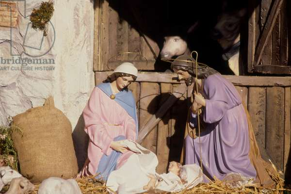 Christmas market in Piazza Navona; detail of crib, Rome, December 1997 (photo)
