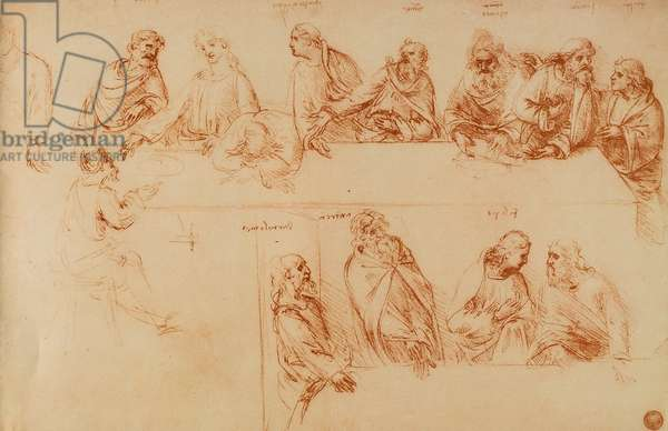 Study for the Last Supper: sanguine drawing by Leonardo da Vinci. Gallerie dell'Accademia, Venice
