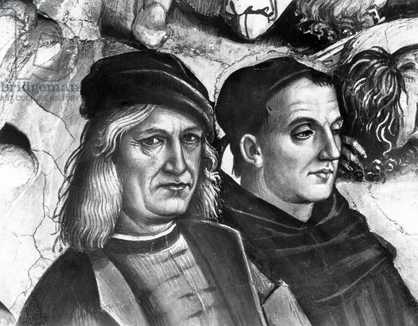 Portrait of Luca Signorelli and Fra Angelico, detail from The Preaching and Acts of the Antichrist (fresco) (b/w photo)