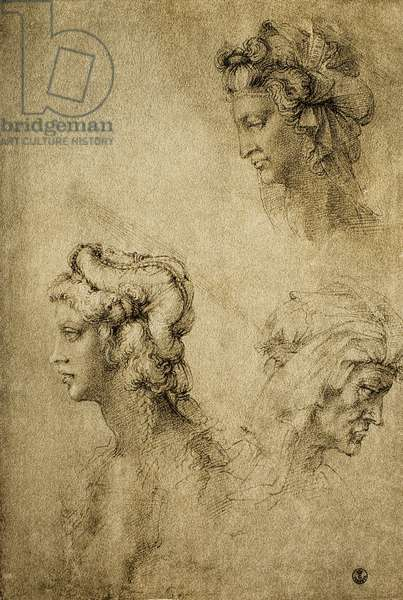 Study of female heads, drawing by Raphael; Gabinetto dei Disegni e delle Stampe, Uffizi Gallery, Florence