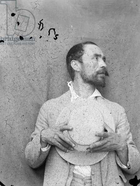Francesco Paolo Michetti, self-portrait (b/w photo)