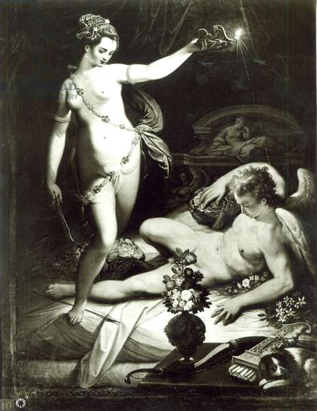 Psyche Surprising Cupid (oil on canvas) (b/w photo)
