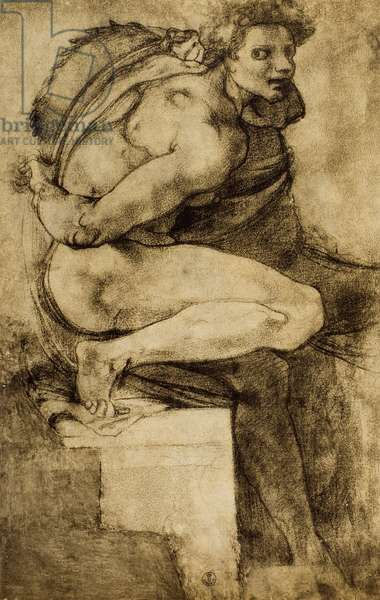 Study of a male nude with bent leg, drawing by Michelangelo. Gabinetto dei Disegni e delle Stampe, Uffizi, Florence