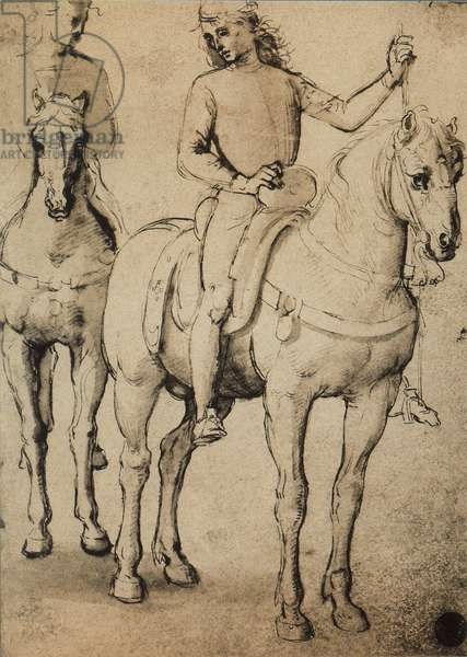 Men horseback; drawing by Raphael. Gallerie dell'Accademia, Venice